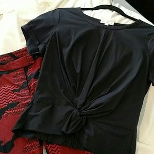 NWOT Socialite Top Short Sleeve Black Sz Sm-Med
